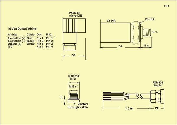 OMEGA PXM309 series transducers dimensions and IP ratings