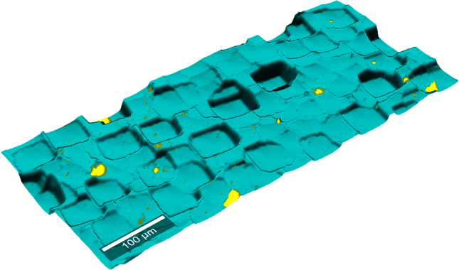 Topographic Raman microscopy image of micro-structured silicon.