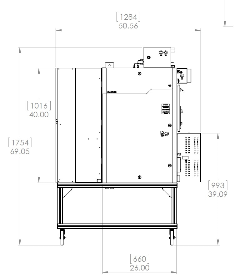MAX300-RTG enclosure with A/C, Cart and X Purge Options. Dimensions shown in inches [mm]