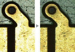 Left image: Some areas are glaring. / Right image: Both dark and bright areas are clearly exposed by HDR.