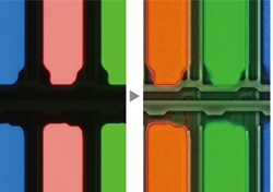 Left image: The TFT array is blacked out due to the brightness of the color filter. / Right image: The TFT array is exposed by HDR.