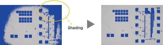 Right image: Shading correction produces even illumination across the field of view.