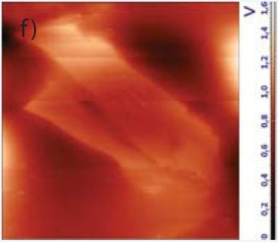 Scanning Kelvin probe microscopy of negatively and positively charged graphene. The flakes were charged by applying +3V (top) or -3V (bottom) voltage with conductive cantilever. Scan size 90x80 µm.