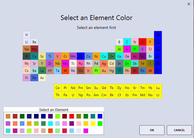APEX™ element colour selector window