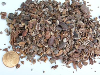 Sample of broken cocoa bean pieces.