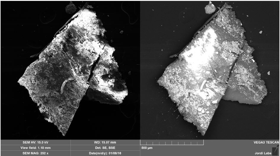 SEM SE (left) and BSE (right) images of Brown Particle before mapping.