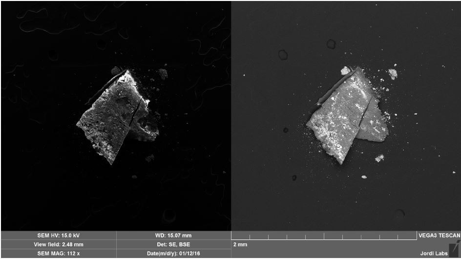 SEM SE (left) and BSE (right) images of Brown Particle after mapping.