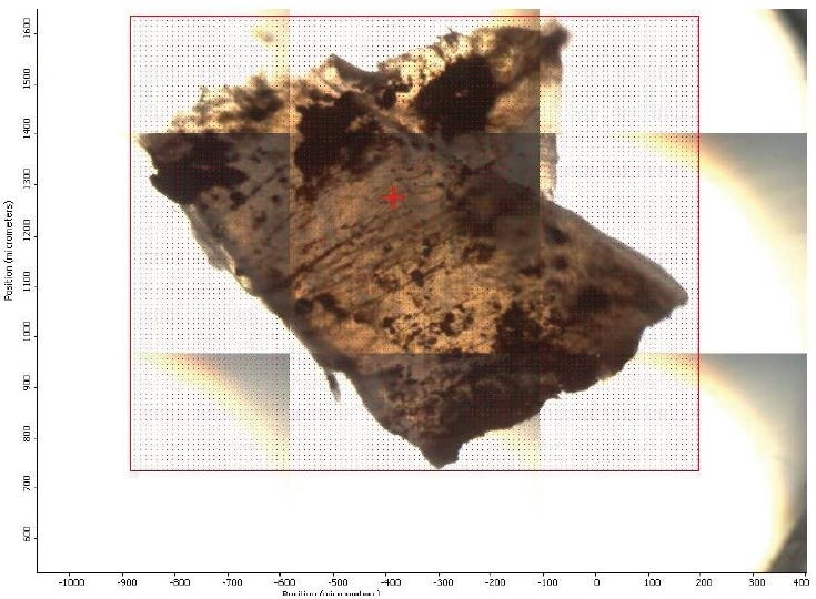 FTIR micrograph of mapped area.