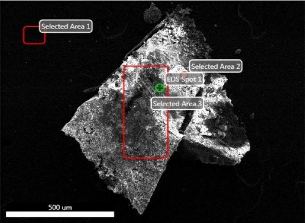 SEM-EDX image of all sampling locations analyzed of Brown Particle.