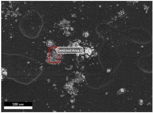 SEM-EDX image of all sampling locations analyzed of Brown Residue.