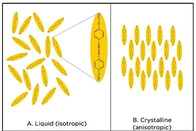 Diagram showing the arrangement of mesogen molecules along the director within a substance. (A) Liquid (isotropic) and (B) crystalline (solid, anisotropic) forms.