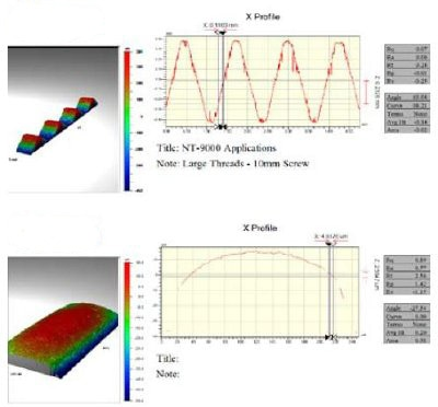 Top: Measurements of a 10mm pitch screw showing slopes of more than 63 degrees can be measured even with a 20X magnification objective. Bottom: Measurement of a machined cylinder using 5X objective with over 1mm2 field of view; near continuous data up to about 30 degrees and sporadic data up to 50 degrees slope.