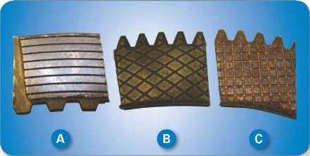 Photos of clutch pieces (a) concentric- (b) diamsond- and (c) square-grooved.