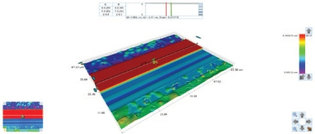 VXI 115X magnification 3D image showing areas of smooth and rough topography on a wafer during fabrication process steps.