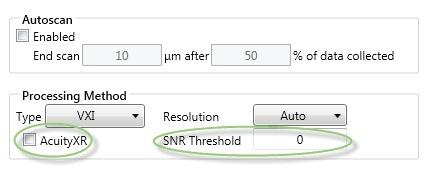 SNR threshold setting showing default setting = 0.