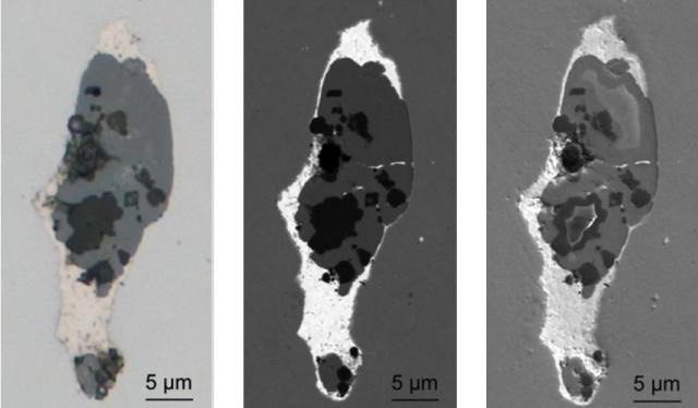 """Brightfield image in LM (left) as well as BSE (center) and SE (right) images in SEM of the conspicuous mixed inclusion shown in Fig. 1. Images were acquired using the CLEM technique with the """"Shuttle & Find"""" module. Note that the bright phase surrounding the core has a rather high density as can be deduced from the BSE image."""
