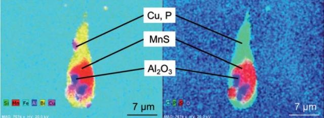 """EDS mapping of the conspicuous mixed inclusion shown in Fig. 2 (left most particle). The core of the inclusion consists of the """"typical"""" inclusion types MnS (red) and Al2O3 (blue) whereas the surrounding bright phase contains the elements Bi (yellow), Cu (pink) and P (green)."""