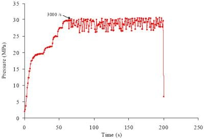 Evidence of Melt Fracture is shown by the oscillating pressure signal. The material is Polypropylene measured at 190°C.