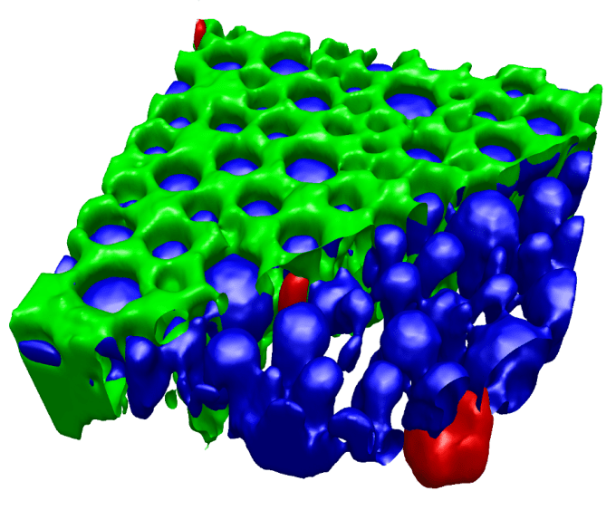 Confocal 3D Raman volume image of a pharmaceutical emulsion. The oil phase (green) is partially removed in the image for better visibility of the silicon impurities (red) in the water and API containing phase (blue).