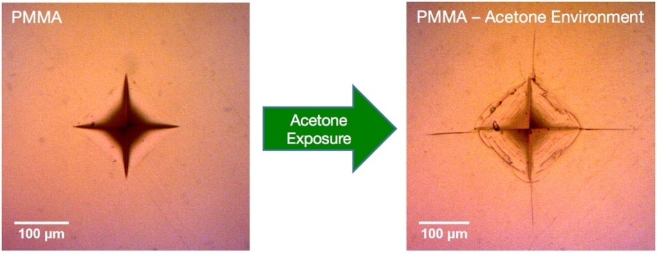 Vickers indentations in PMMA, as-formed vs. acetone environment.