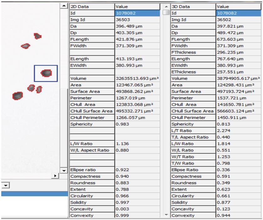 This is the upper right corner of the View Particles display, showing all 2-D and 3-D parametric data for the particle chosen by the user, highlighted inside the blue box in the frame window.