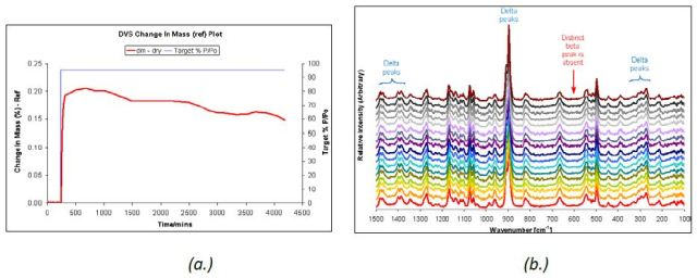 DVS water sorption at 95% RH (a.) and Raman spectra (b.) taken at 5-hour intervals for δ D-mannitol.