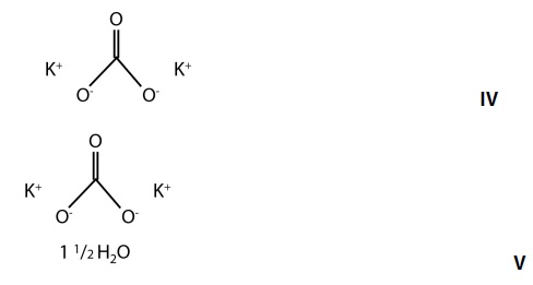 Chemical structures of potassium carbonate and potassium carbonate sesquihydrate.