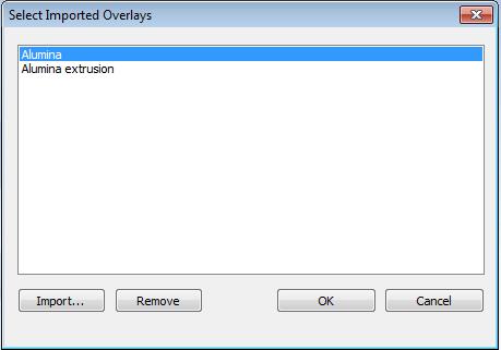 The import file selector lists each pore size distribution by description.