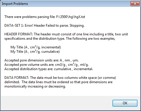 Error message for improperly formatted pore volume data file.