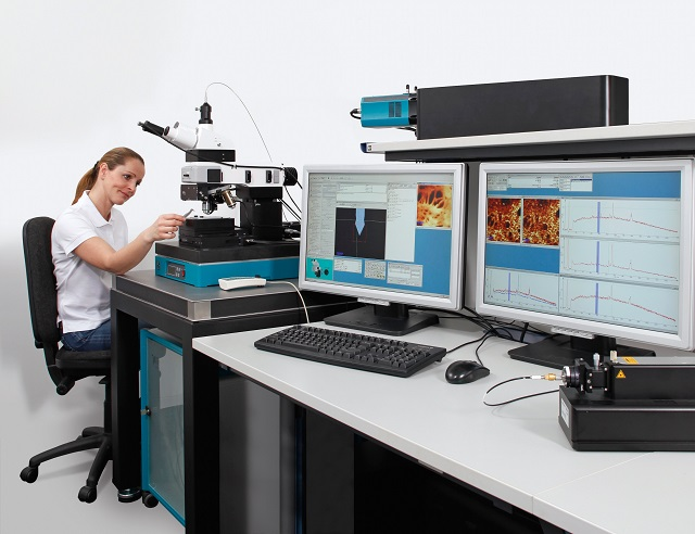Combined Raman-AFM imaging system alpha300 AR for high resolution structural and chemical imaging.