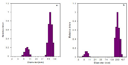 DLS Size Distribution of Proteins at 20°. a. Cold Prep; b. Hot Prep.