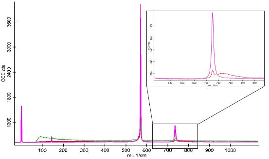 Color-coded Raman spectra corresponding to the Raman image shown in figure 5. In the zoomed view the green spectrum is omitted for clarity.