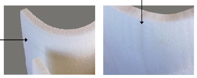Thermoformed sheets with different orientation of the weld lines.