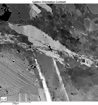 Orientation contrast image from a polished Gabbro, formed by mixing the two lower forescattered images.
