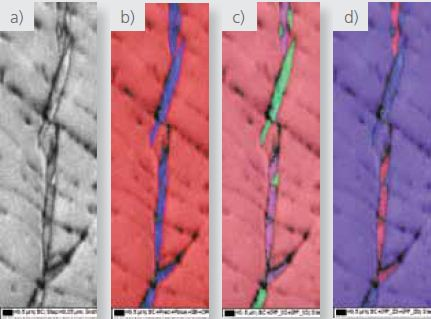 High magnification a) pattern quality, b) phase where