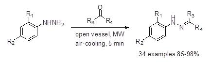 Open vessel microwave assisted synthesis of N-aryl hydrazones.