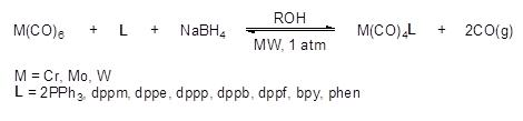 Open vessel microwave assisted synthesis of Group VI Complexes.
