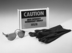 49125 UV Safety Spectacles, 49121 Protective Gloves, and 79004 Lighted Warning Sign