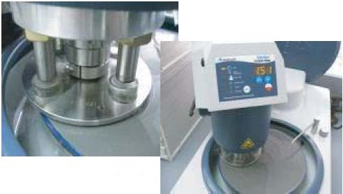 Four Semi-finished samples in single-force holder (L); automated grinding by Metaserv 250/Vector grinder/polisher (R).