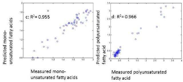a) oleic acid b)linoleic acid c)mono-unsaturated fatty acids d)polyunsaturated fatty acid prediction results