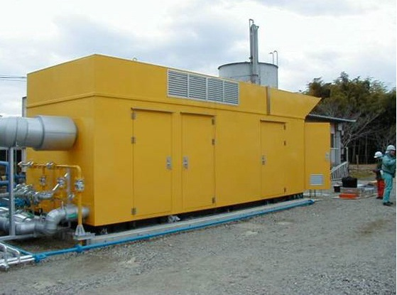 Typical Generator engine enclosure located adjacent to a customer site.