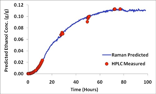 Ethanol formation profile showing HPLC measured versus Raman predicted concentrations.