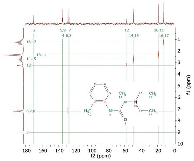 HETCOR spectrum of 1 M lidocaine in CDCl3.