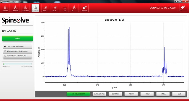 Figure 5 shows a screenshot of the new 19F capability built into the latest version of the Spinsolve software.