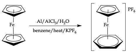 Ligand exchange of ferrocene with benzene