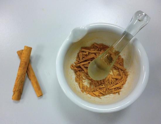 Ground sticks of cinnamon.