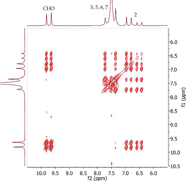 COSY spectrum of trans-cinnamaldehyde, CDCl3.