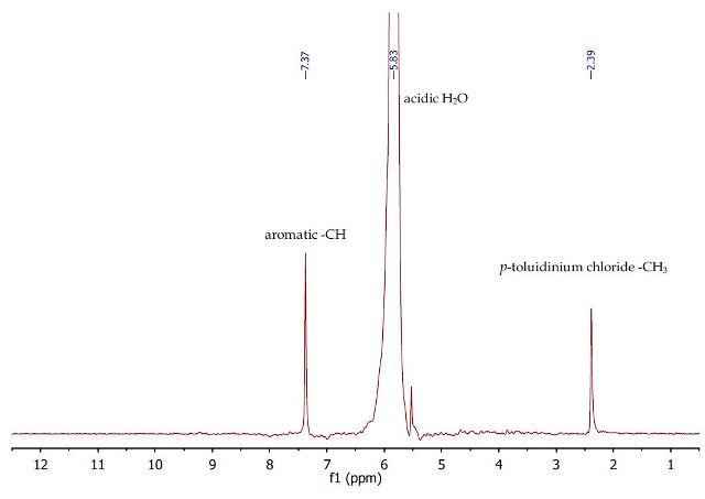 1H NMR spectrum of the first aqueous layer containing p- toluidinium chloride