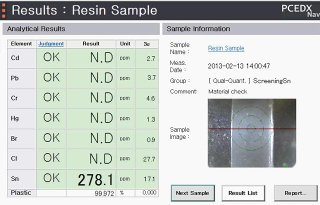 Plastic Sample Screening Analysis - Determination Results Window