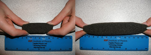 Left: Auxetic foam relaxed. Right: Auxetic foam in tension.